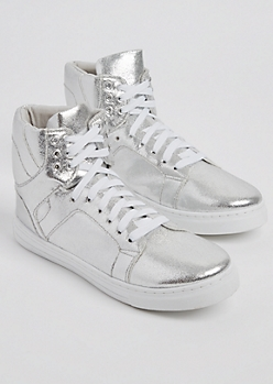 Silver Metallic High Top Sneaker By Qupid