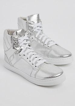 Silver Metallic High Top Sneaker By Qupid