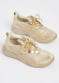 Gold Metallic Low Top Sneaker By Qupid