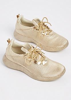 Gold Metallic Low Top Sneakers