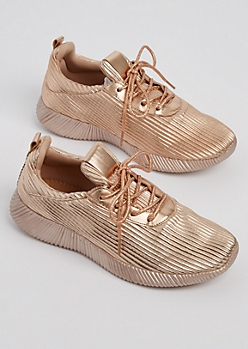 Rose Gold Metallic Low Top Sneaker By Qupid