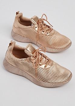Rose Gold Metallic Low Top Sneakers