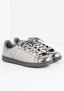 Pewter Metallic Skate Sneaker by Qupid®