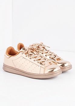 Rose Gold Metallic Skate Sneaker by Qupid®