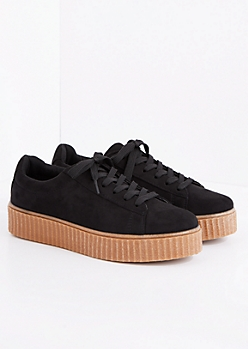 Black Faux Suede Creeper Sneaker
