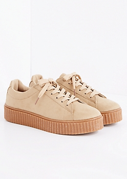 Taupe Faux Suede Creeper Sneaker