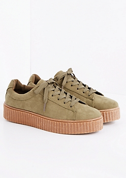 Olive Faux Suede Creeper Sneaker
