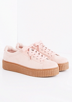 Pink Faux Suede Creeper Sneaker