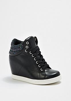 Black Glitter Cuff Wedge Sneaker by Wild Diva®
