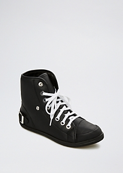 Black Faux Fur High Top Sneaker By Wild Diva®
