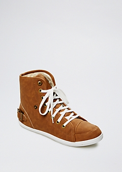 Camel Faux Fur High Top Sneaker By Wild Diva®