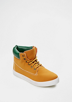 Green Color Padded High Top Sneaker By Qupid®