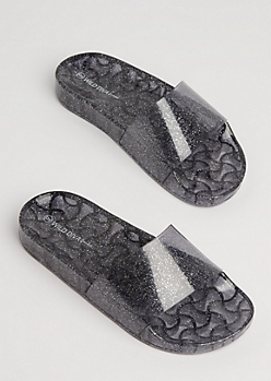 Black Glitter Slide On By Wild Diva