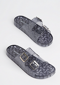 Black Glitter Buckled Slide On By Wild Diva