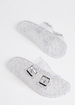 Clear Glitter Buckled Slide On By Wild Diva