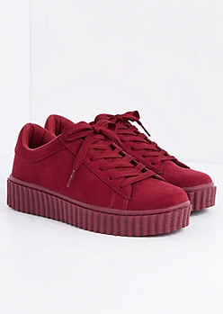 Burgundy Creeper Sneaker By Wild Diva