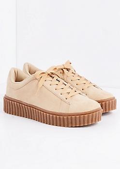 Tan Creeper Sneaker By Wild Diva