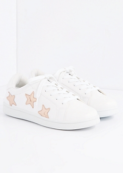 Rose Gold Metallic Star Retro Sneaker By Wild Diva
