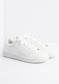 White Side Braid Vintage Low Top Sneakers By Wild Diva
