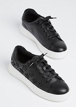 Black Glitter Star Sneaker