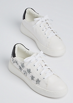 White Glitter Star Sneaker