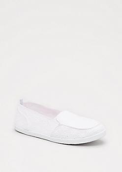 White Eyelet Loafer