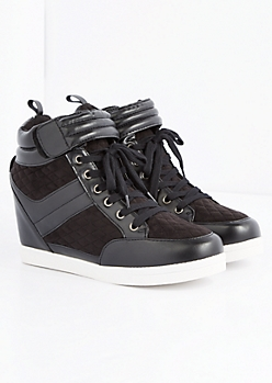 Black Quilted Wedge Sneaker