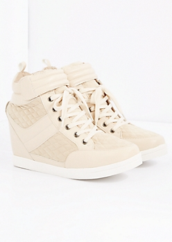Beige Quilted Wedge Sneaker