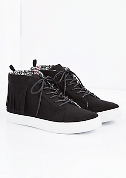Black Fringed Faux Suede Sneaker