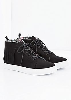 Black Fringed Faux Suede Sneaker