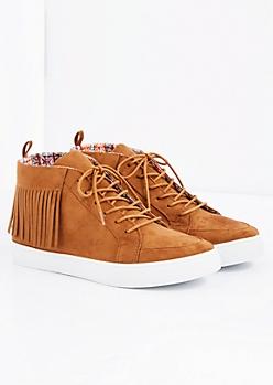Cognac Fringed Faux Suede Sneaker