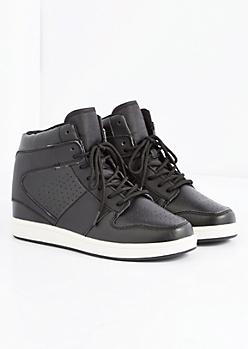 Black Perforated High Top Sneaker