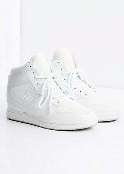 White Perforated High Top Sneaker