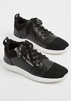 Black Zipper Low Top Sneakers