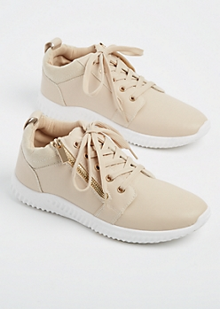 Nude Zipper Low Top Sneakers