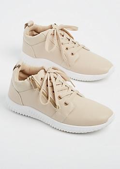 Nude Zipper Low Top Sneakers