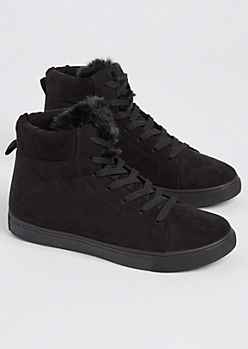 Black Faux Fur High Top Sneaker