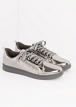 Pewter Metallic Low Top Sneakers