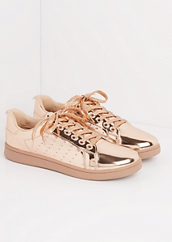 Rose Gold Metallic Low Top Sneakers
