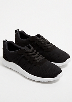Black Mesh Strapped Trainer