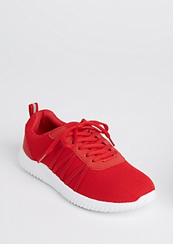 Red Mesh Strapped Trainer