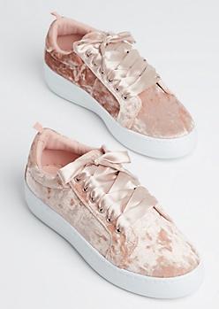 Pink Velvet Flatform Low Top Sneaker