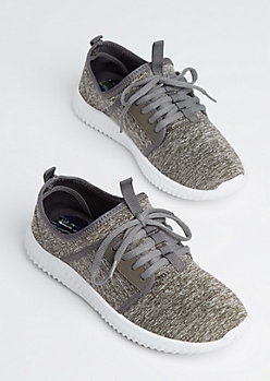 Gray Marled Low Top Trainers