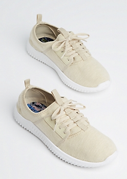 Ivory Marled Low Top Trainers