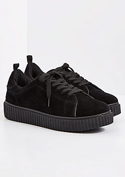 Black Faux Suede Low Top Creeper Sneaker