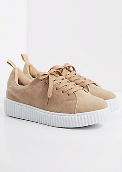 Taupe Faux Suede Low Top Creeper Sneaker