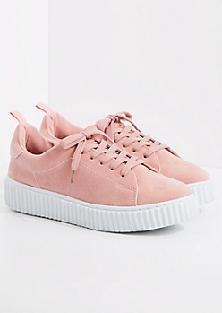 Pink Faux Suede Low Top Creeper Sneaker