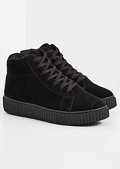 Black Faux Suede High Top Creeper Sneaker