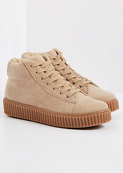 Taupe Faux Suede High Top Creeper Sneaker