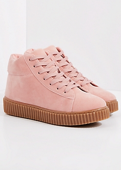 Pink Faux Suede High Top Creeper Sneaker